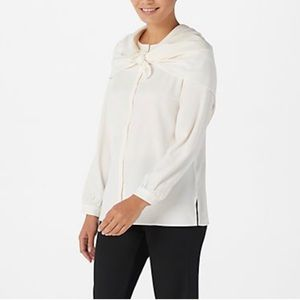 Linea by L Crew-Neck Button-Front Blouse w/ Scarf